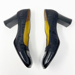 Vintage Fendi leather & fabric closed-toe heels